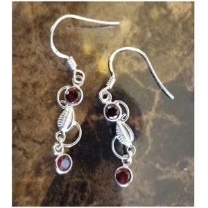"""Jewelry - Fire Garnet Earrings ...hangs 1.5"""" long"""